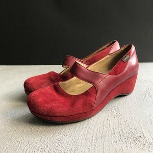 Camper Red Suede Leather Mary Janes Wedge Sz 38